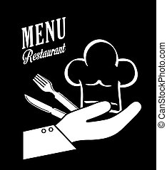 cutlery and chefs hat design, vector illustration -...