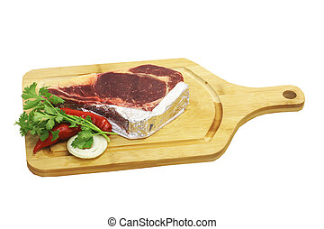 Raw pork on cutting board