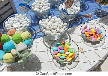 sugared almond - comfit of various flavors arranged in glass...