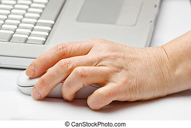 Women's hands with a computer