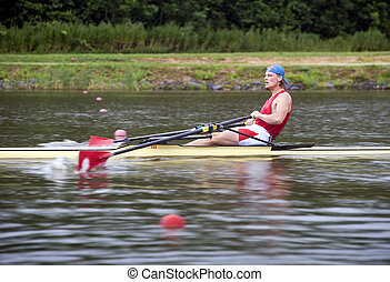 Mens Single Rowing - Contestant at a Mens Single rowing race...