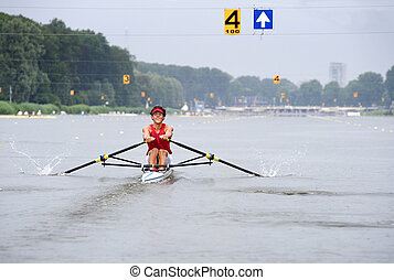 Skiff - A Skiff oresman in lane 4 during a regatta
