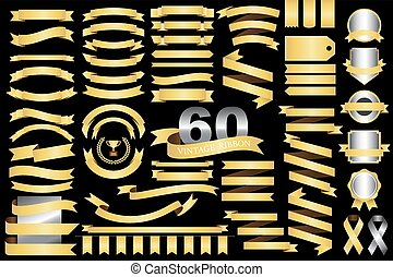 60 retro ribbons and labels - 60 retro gold ribbons and...