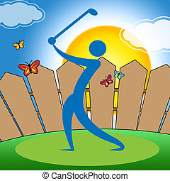 Golf Swing Indicates Fairway Golfer And Playing - Golf Swing...