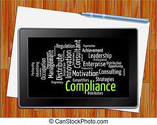 Compliance Word Shows Agreement Online 3d Illustration