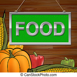 Food Sign Indicates Restaurant Cuisine 3d Illustration