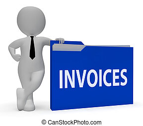 Invoices Folder Indicates Due Bills 3d Rendering - Invoices...
