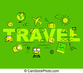Travel Icons Represent Exploring Voyage Tours And Journeys -...