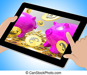 Euro Coins On Piggy bank Showing Savings 3d Illustration