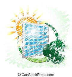 能量, 環境, 太陽, 選擇, 面板, 顯示