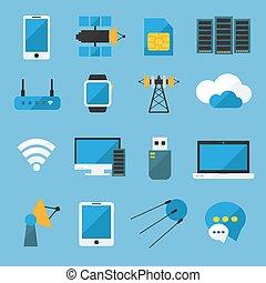 Wireless Technology Flat Icons Set - Wireless technology...