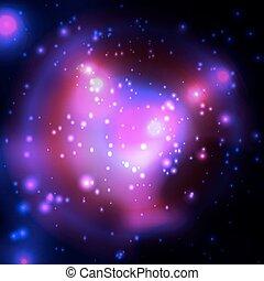 Cosmic backrgound with stars. Purple light. - Cosmic...