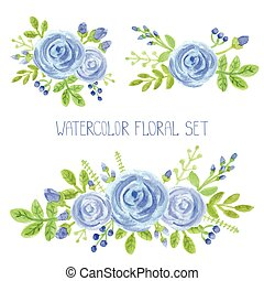 Watercolor blue flowers bouquet decor set - Watercolor blue...