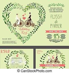 Wedding invitation.Green branches ,bride,groom,retro bicycle