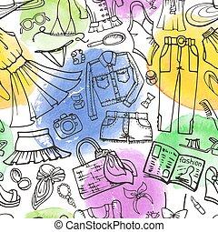 Summer fashion seamless pattern.Woman wear,watercolor stein...