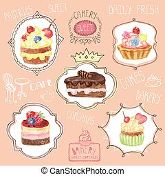 Watercolor sweet cakes label set