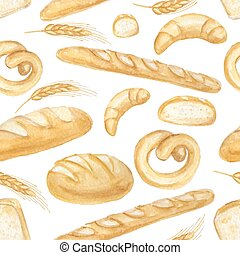 Watercolor Bread set. Hand drawn seamless pattern,background...