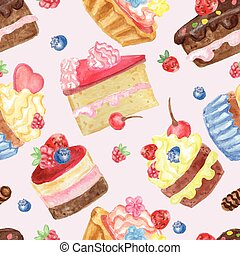Watercolor sweet cakes seamless pattern with berries -...