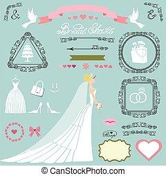 Wedding bridal shower decor set.Bride,swirls,icons,ribbons
