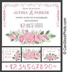 Wedding invitation cards set.Watercolor pink roses,numbers