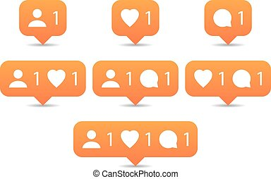Like, follow, comment icons in flat style. Orange...