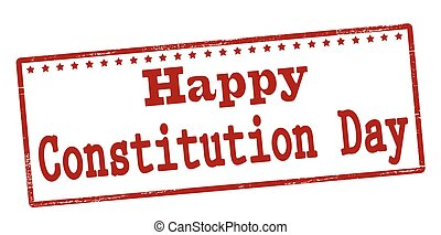 Happy constitution day - Rubber stamp with text happy...