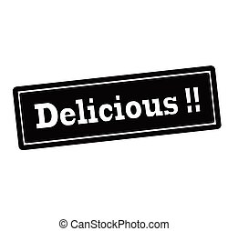 Delicious - Rubber stamp with word delicious inside, vector...