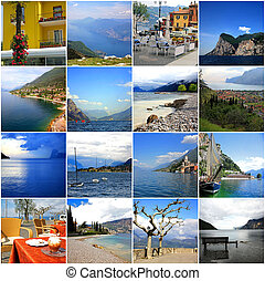 Collage of lake Garda in Italy