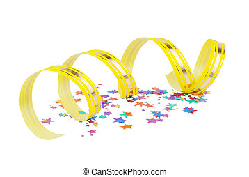 Confetti and yellow ribbon - Multicolored confetti in the...