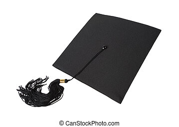 Graduation hat on white background - Black square graduate...