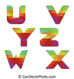 Alphabet colorful letters u to z - Colorful alphabet Serie...