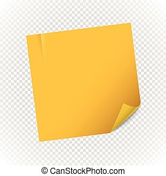 Yellow paper note sheet isolated on transparent background