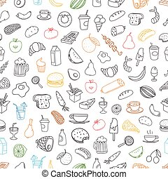 Different color food doodles seamless background. Lineart hand-drawn elements