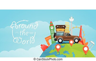 Vacation travelling concept Vector travel illustration with...