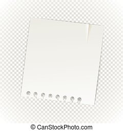 Old paper sheet isolated on transparent background