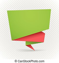Color polygonal origami banner on transparent. Place your...
