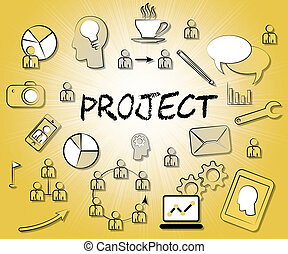 Project Icons Represent Task Plan Or Programme - Project...
