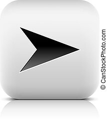 Web icon with arrow sign. Rounded square button with black...