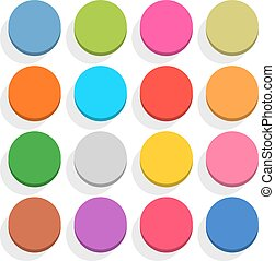 Flat blank web button round icon set with shadow
