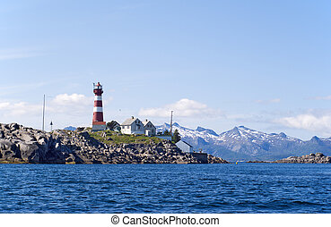The lighthouse on the norwagian island Skrova.