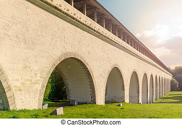 Rostokino Aqueduct with sunflare effect - Fragment view of...