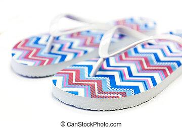 Flip-flop sandals on white background