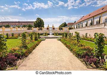 Orangery with adjacent greenhouse at Schloss Hof, Austria -...