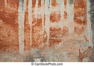 old wall with stained plaster - old wall with orange brown...