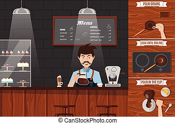 Work Of Barista Leaflet - Work of barista leaflet with man...