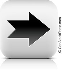 Web icon with black arrow sign. Rounded square button with...