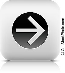 Web icon with black arrow sign in circle. Rounded square...