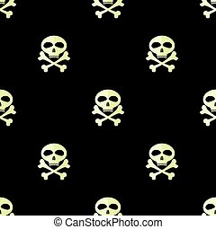 Skull Cross Bones Seamless Pattern Skull Isolated on Black