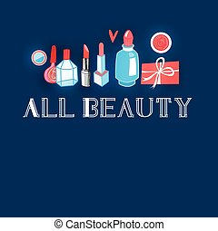 Advertising different makeup - Graphic Vector bright...