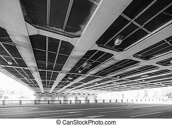 Steel highway bridge - Bridge across the highway, view from...